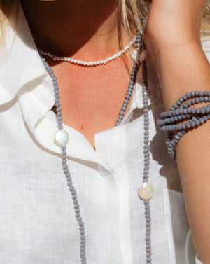 Pearl and Crystal Long Necklace Grey