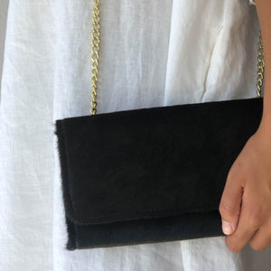 Savannah Cowhide Clutch Black