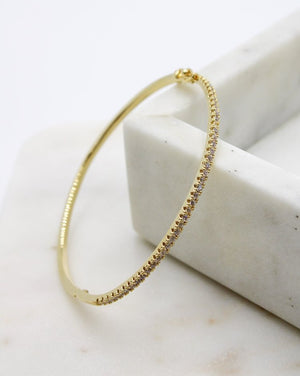 Crystal Channel Bangle Gold