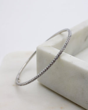 Crystal Channel Bangle Silver