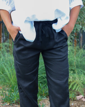 Elba Linen Pants Black
