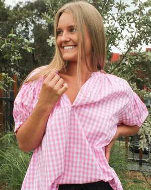 Short Sleeve Kell Gingham Shirt Pink
