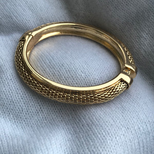 Plaited Hinged Bangle - Gold