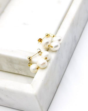 Tiny Pearl Chain Studs