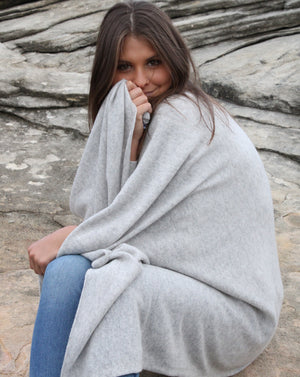 Cashmere Double Width Scarf GREY