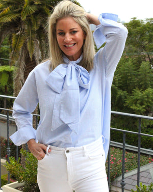 Kara Bow Shirt Stripe Blue