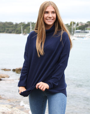 Boyfriend Roll Neck Sweater Navy