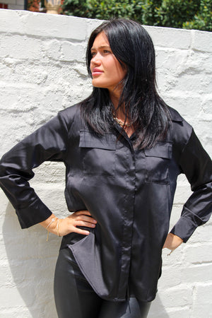 Caitlin Shirt Satin Black