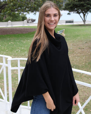 Turtle Neck Poncho Black