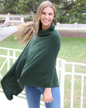 Turtle Neck Poncho Moss