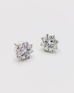 White Crystal Flower Studs