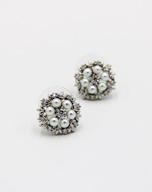White Crystal and Pearl Flower Studs Silver