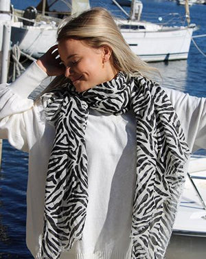 Zebra Cotton Scarf Black