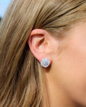 White and Pale Blue Baguette Crystal Studs