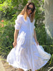 Angelina Frill Linen Dress White