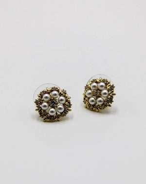 White Crystal and Pearl Flower Studs Gold