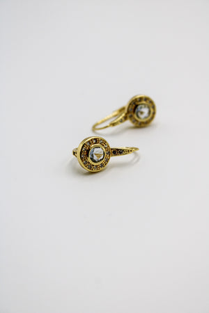 Gold and Crystal Bezel Set French Hooks Pale Blue