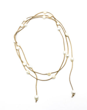 Suede and Baroque Pearl Lariat Necklace Beige