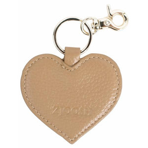 Leather Heart Keyring Tan