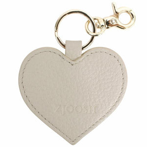 Leather Heart Key Ring Grey