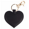 Leather Heart Key Ring Black