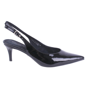 WALNUT SHOES - KELLIE SLING HEEL - PATENT BLACK