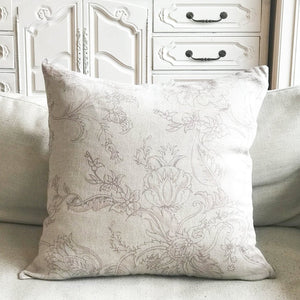 Linen Fantasy flower Large Print Cushion - Grey