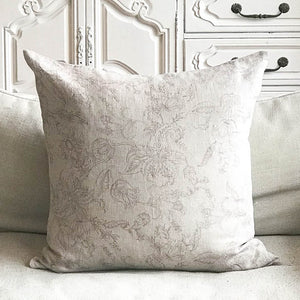 Linen Fantasy flower Small Print Cushion - Grey