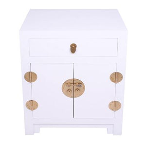 Lacquered Bedside 2 Door White