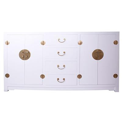 Lacquered Buffet 4 Door 4 Drawer White