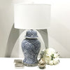 Chinoiserie Curl Vine Lamp Blue