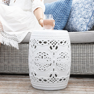 Pierced Garden Stool White