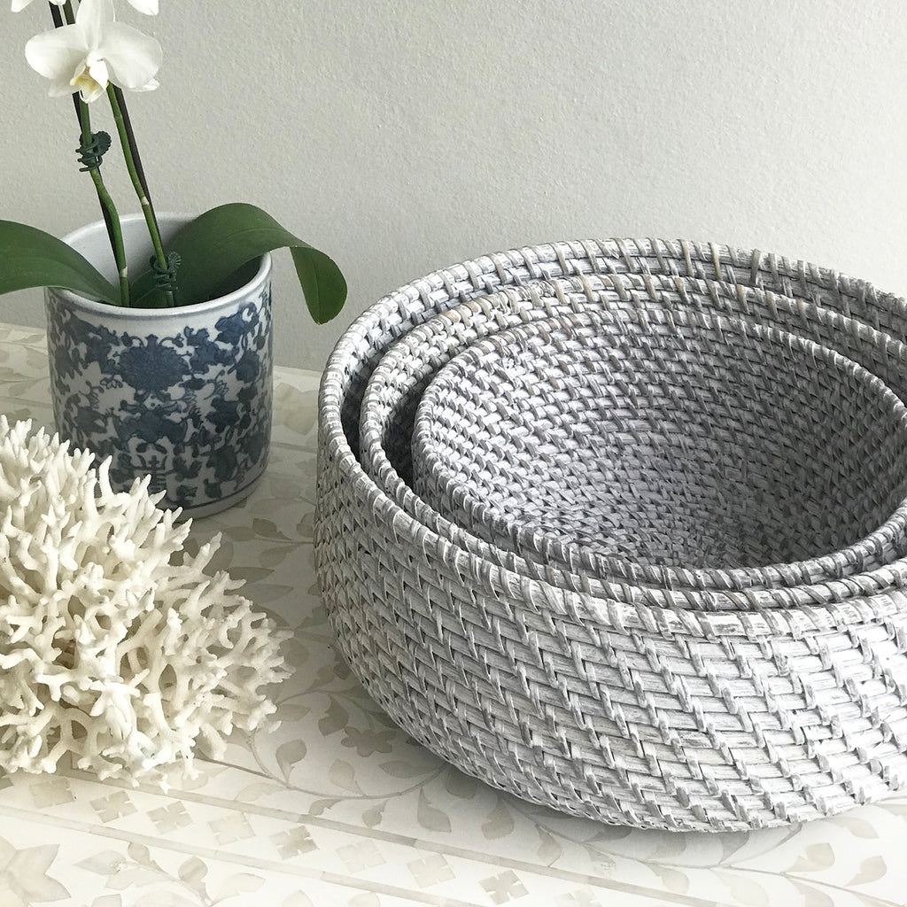 Rattan Fruit Basket Set Grey Wash