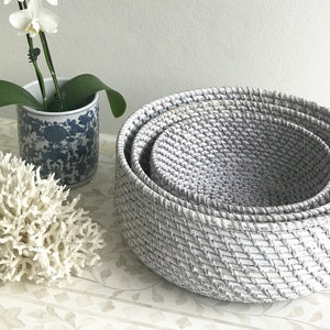Rattan Fruit Basket Grey Wash Medium