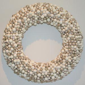 Glitter Ball and Pearl Wreath - White