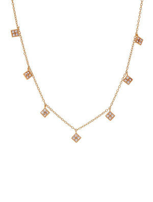 Hanging Diamonds Necklace Rose Gold