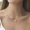 Freshwater Pearl Chain Link Necklace Gold