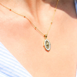 Gold Enamel Oval Necklace
