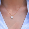 White Enamel Circle Necklace