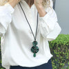Raffia Circle Necklace Green