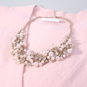 Pearl And Crystal Cluster Necklace