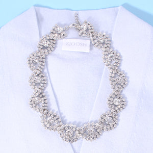 Clear Crystal Braided Flat Necklace