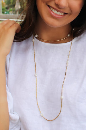 Gold Bead and Pearl Necklace Long