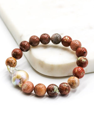 Natural Stone and Pearl Bracelet Pink