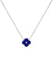 Rhodium And Lapis Flower Necklace