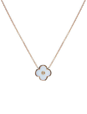 Yellow Gold And White Flower Necklace