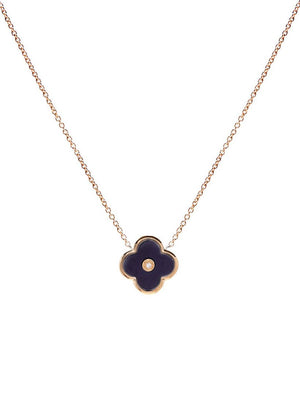 Gold and Black Flower on Fine Chain