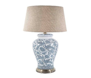 Aviary Glazed Bird Motif Ceramic and Metal Urn Table Lamp