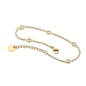 Stainless Steel 5X Wh Cz Chain Bracelet Gold