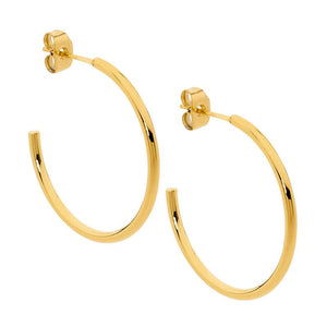Stainless Steel 40Mm Hoop Earrings Gold